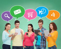 group of teenagers with smartphones and tablet pc - PhotoDune Item for Sale