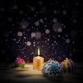 Vintage Christmas background with Christmas balls and burning candles - PhotoDune Item for Sale