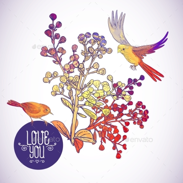 GraphicRiver Floral Greeting Card with Birds and Branches 9835451