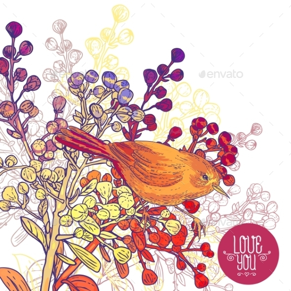 GraphicRiver Floral Greeting Card with Birds and Branches 9835475