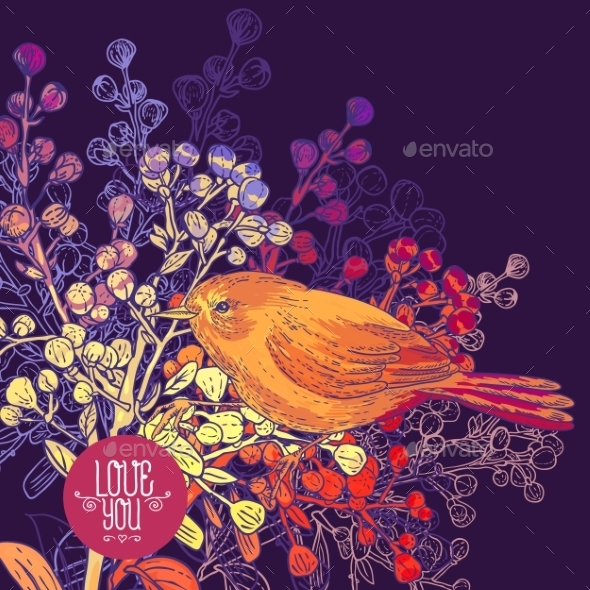 GraphicRiver Floral Greeting Card with Birds and Branches 9835489