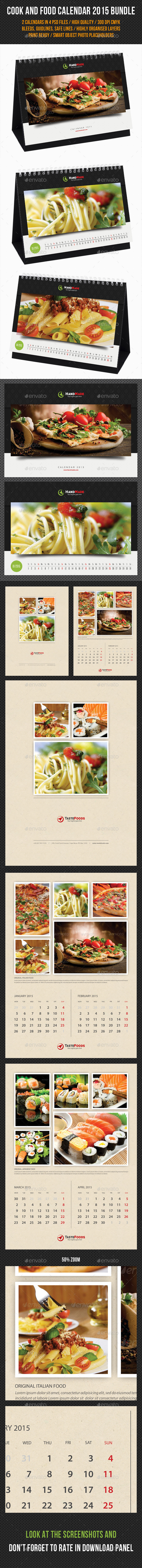 GraphicRiver 2 in 1 Cook And Food Calendar 2015 Bundle 02 9835788