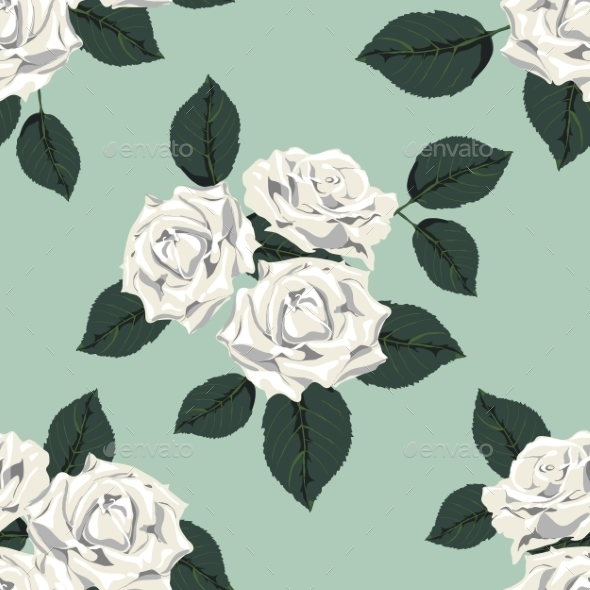 GraphicRiver Classic Vintage Seamless Pattern with White Roses 9835980