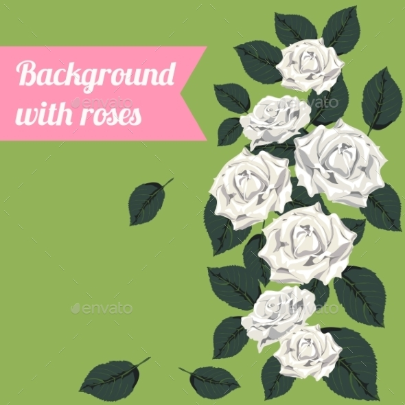 GraphicRiver Background with White Roses 9835995