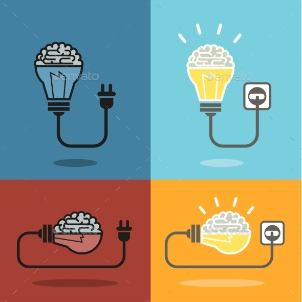 GraphicRiver Brain and Bulb Light 9836045