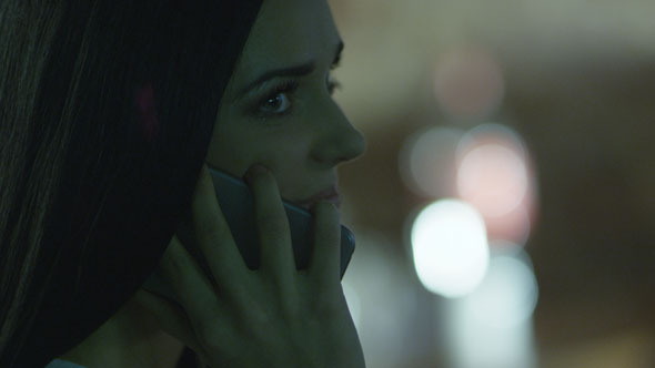 Young Girl on the Phone at Evening Time