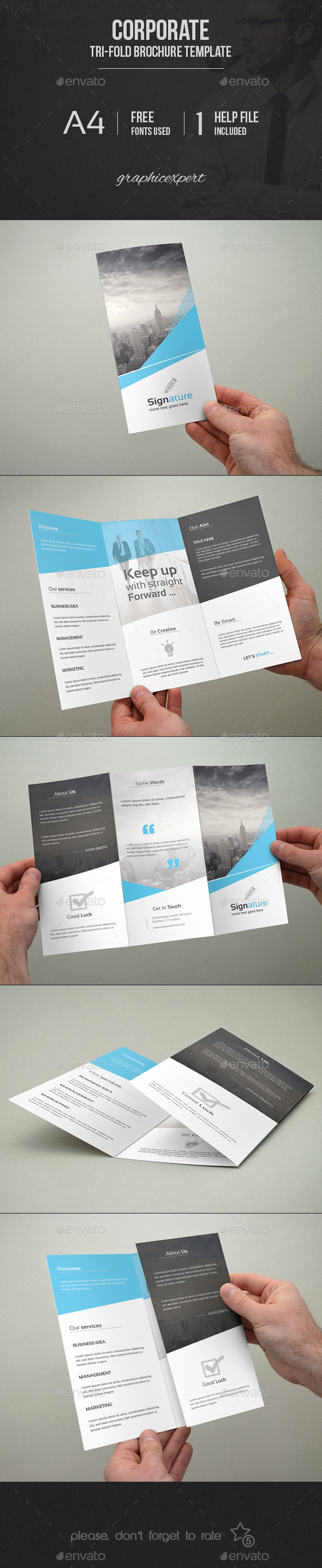 GraphicRiver Corporate Tri-Fold Brochure Template 9836085