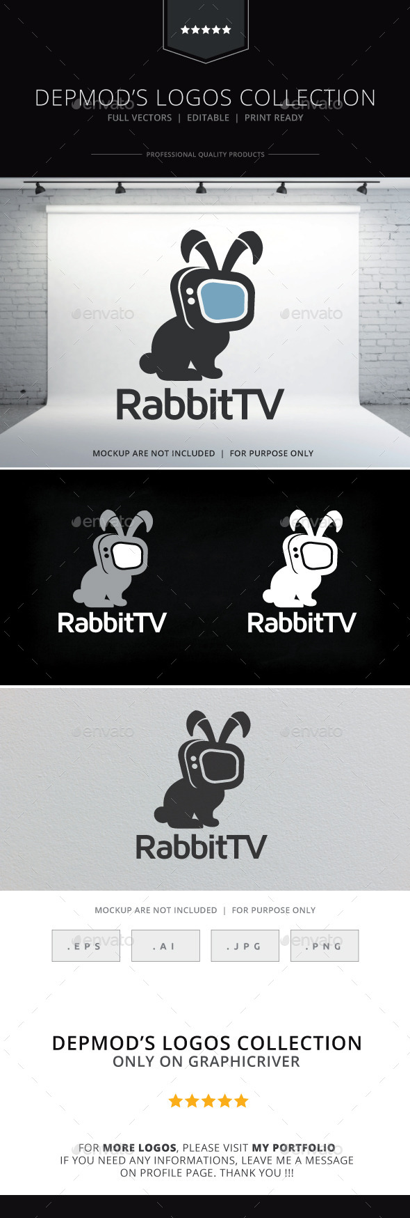 GraphicRiver Rabbit TV Logo 9836721