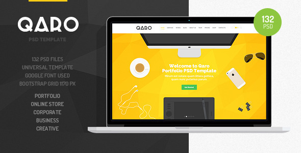 QARO – Clean and Modern PSD Template for your projects. PLEASE don't forget to rate it. Thanks so much! Template Features: 132 Fully Layered Adobe