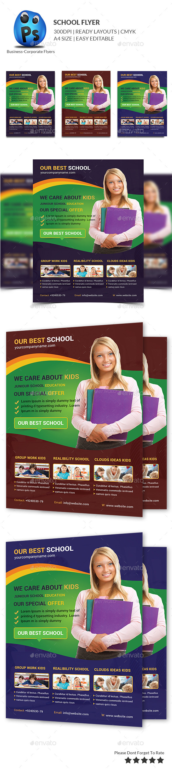 GraphicRiver School Education Flyer Template 9837903