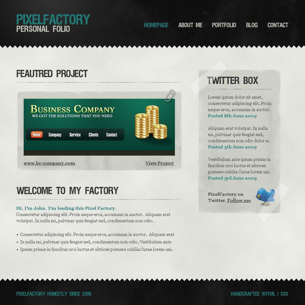 Pixel Factory - A grungy, paper look template