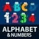 Alphabet and Numbers Monster Cartoon Characters - GraphicRiver Item for Sale