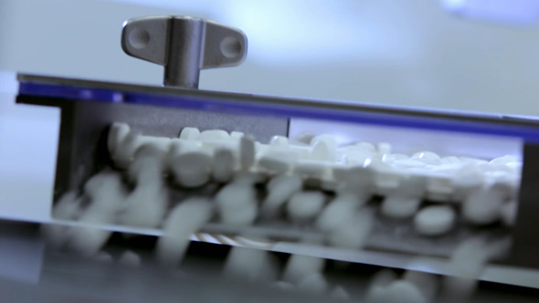 Tablets on Conveyor Pharmaceutical Factory 2