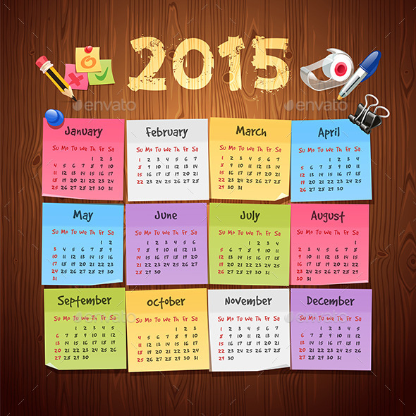 GraphicRiver Office Stickers Calendar 2015 9804100