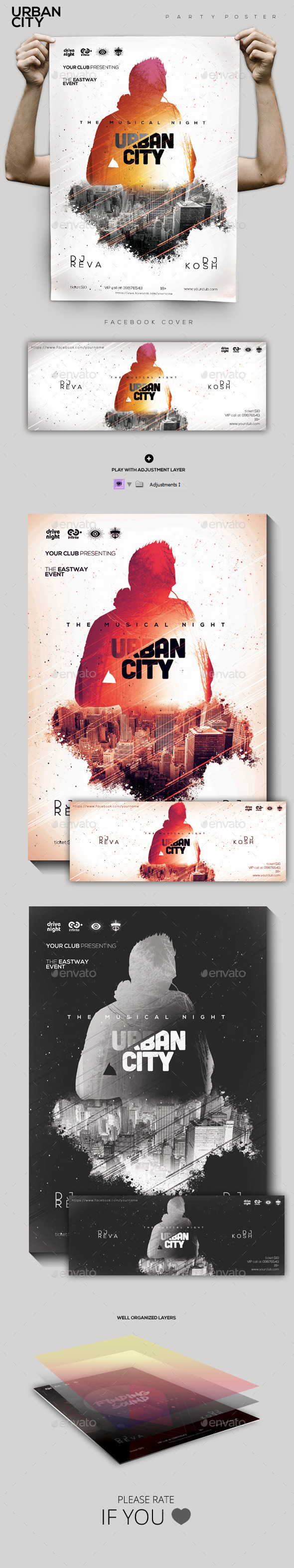 GraphicRiver Urban City Party Flyer Poster 9839193