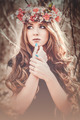 Beautiful girl with a circlet of flowers - PhotoDune Item for Sale