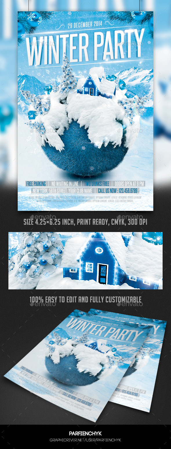 GraphicRiver Winter Party Flyer Template 9839683