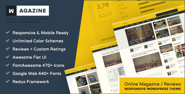 Wagazine is a professional News, Online Magazine and Reviews WordPress Theme. It's ultra responsive and retina-ready, looking and behaving great on mobil