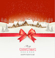 Holiday Christmas background with a village and a red gift ribbon.  - PhotoDune Item for Sale