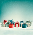 Christmas gift boxes in snow. - PhotoDune Item for Sale