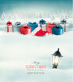 Winter Christmas background with presents and a lantern buried in snow.  - PhotoDune Item for Sale