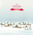 Holiday Christmas background with a village. - PhotoDune Item for Sale