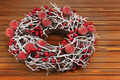 Christmas Wreath with Decorations on Wooden Background. - PhotoDune Item for Sale