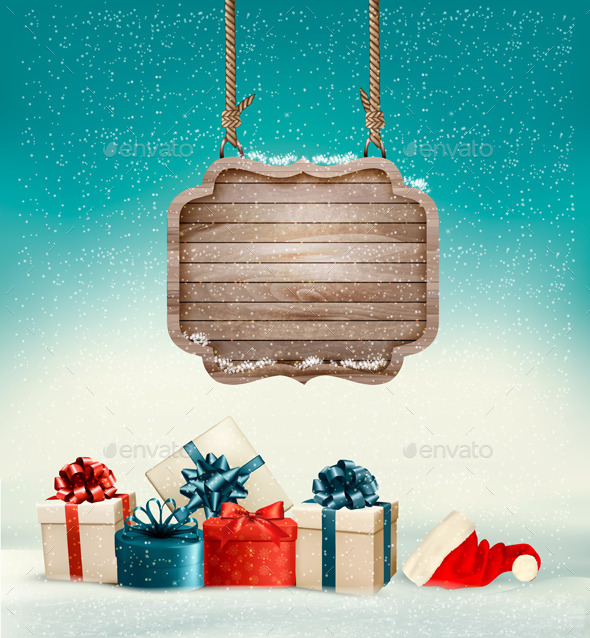 GraphicRiver Christmas Background with a Retro Wooden Sign 9840362