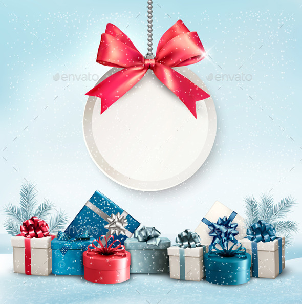 GraphicRiver Christmas Presents with a Label and a Ribbon 9840366