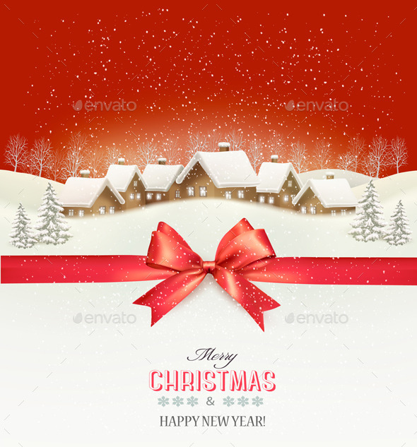 GraphicRiver Holiday Christmas Background with a Village 9840373