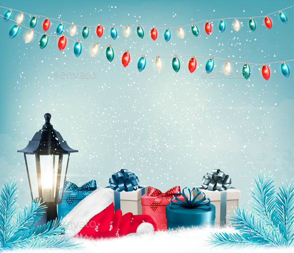 GraphicRiver Christmas Background with a Lantern and Presents 9840386