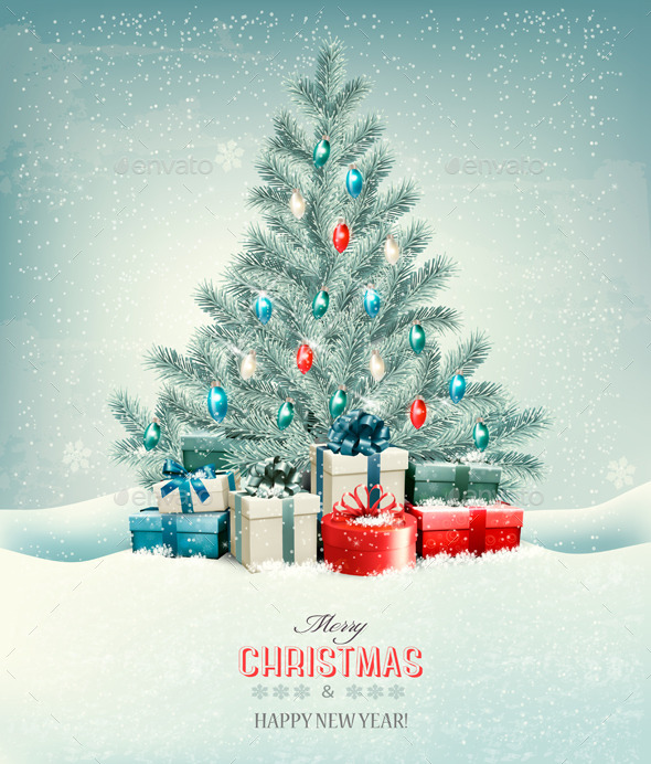 GraphicRiver Christmas Tree with Presents Background 9840387