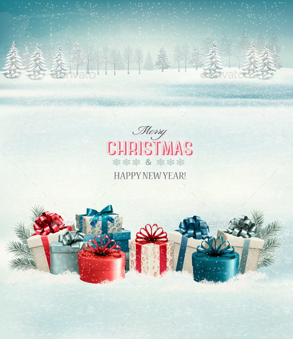 GraphicRiver Holiday Christmas Background with Gift Boxes 9840403