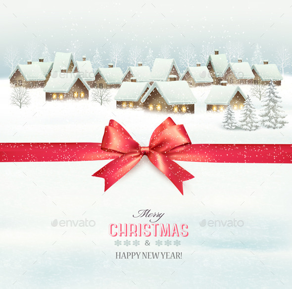 GraphicRiver Holiday Christmas Background with a Village 9840406