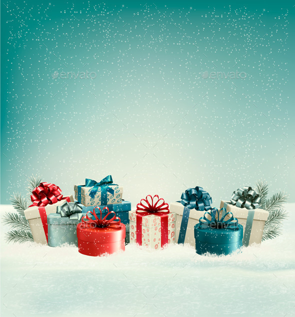 GraphicRiver Christmas Gift Boxes in Snow 9840408
