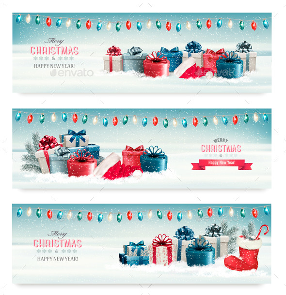 GraphicRiver Three Christmas Banners with Presents 9840412