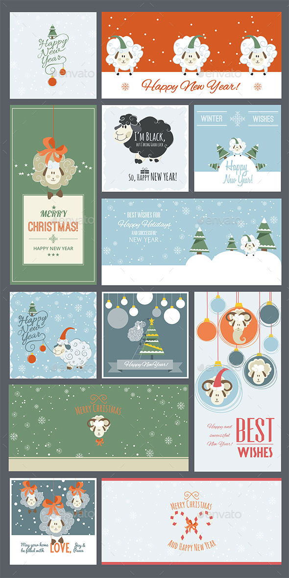 GraphicRiver Cute Sheep New Year Cards and Banners 9840569