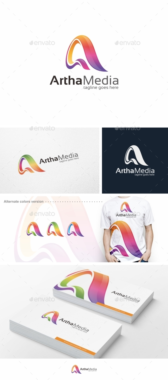 GraphicRiver Abstract Colorful Letter A Logo Template 9840628