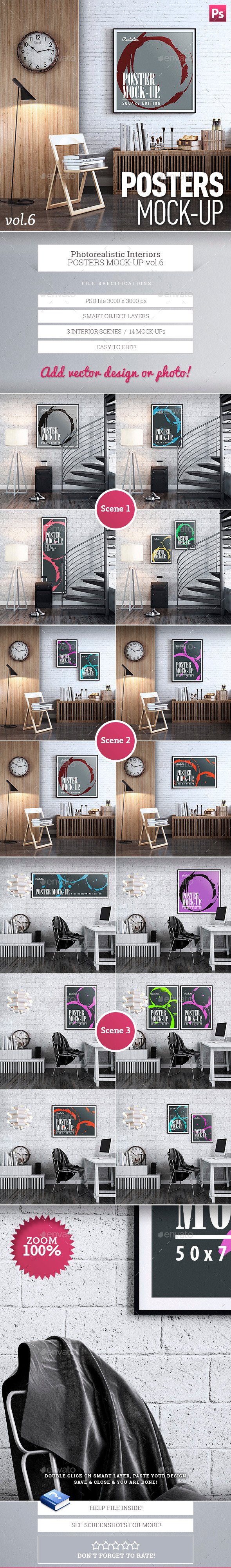 GraphicRiver Posters Interior Mock-Up vol.6 9840672