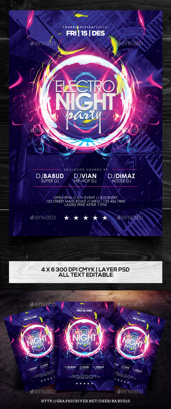 GraphicRiver Electro Night Party Flyer Template Vol 2 9840673