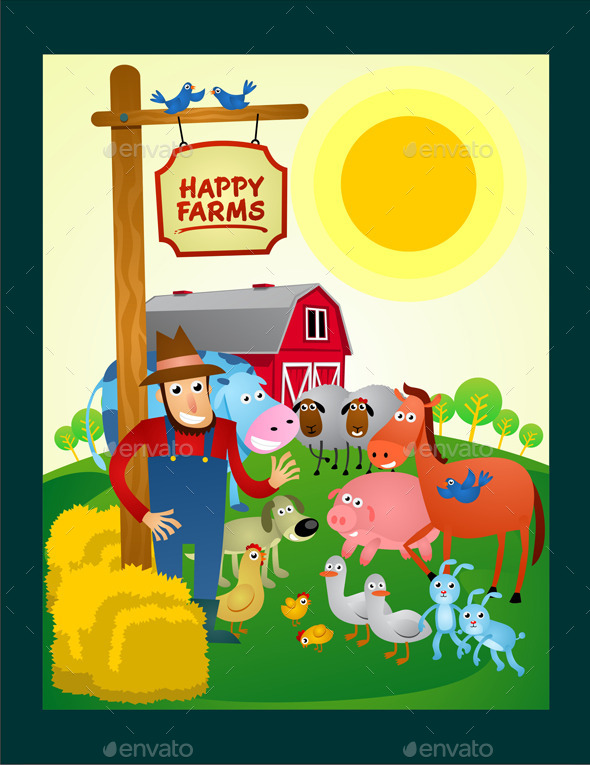 GraphicRiver Happy Farms Cartoon 9840700