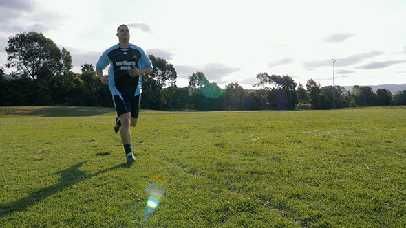 VideoHive Football Soccer Player Warm Up Jog 9840702