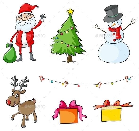 GraphicRiver Different Christmas Symbols 9840875