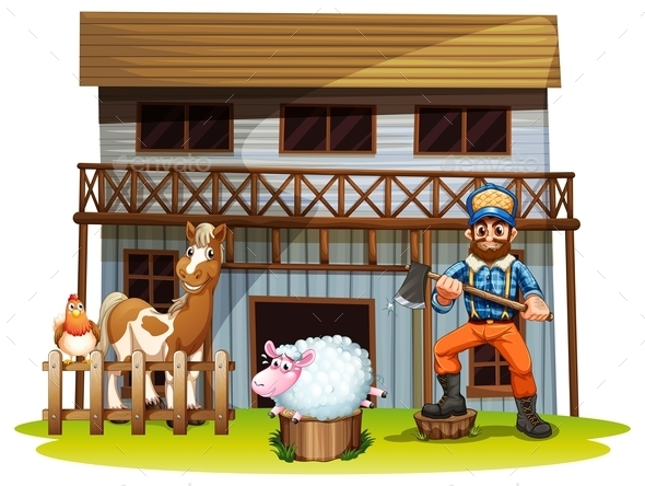 GraphicRiver Animals and Lumberjack 9841767