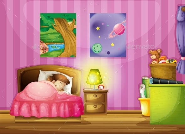GraphicRiver Girl and a Bedroom 9841787
