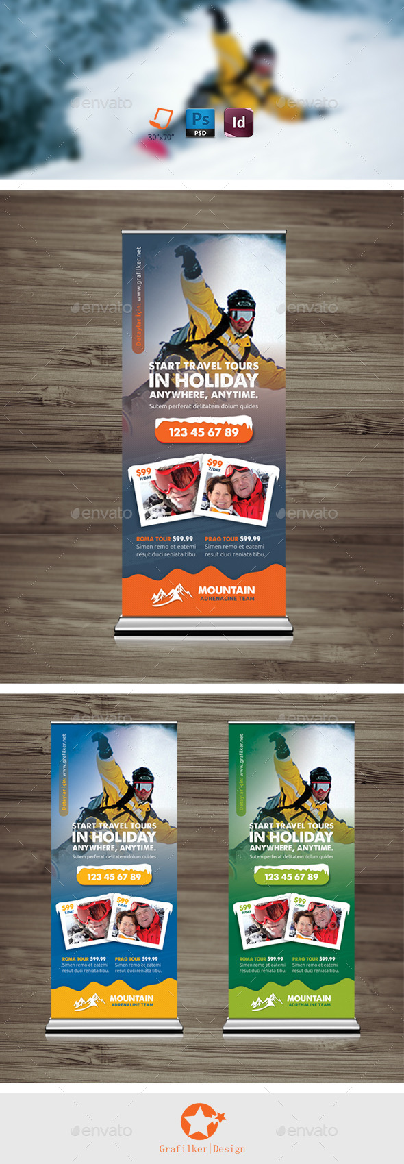 GraphicRiver Winter Tour Roll-Up Templates 9842129