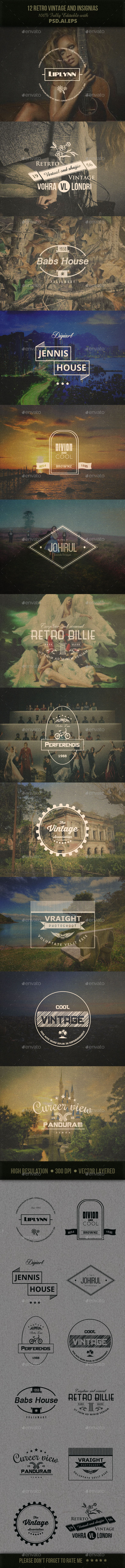 GraphicRiver 12 Retro Vintage And Insignias 9842755