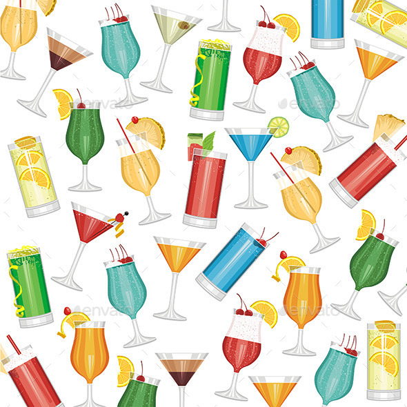 GraphicRiver Cocktails Pattern 9843031