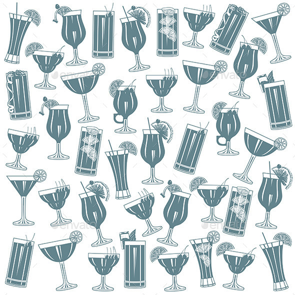 GraphicRiver Cocktails Pattern 9843218