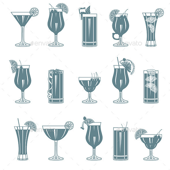 GraphicRiver Cocktail Set 9843253